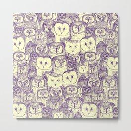 just owls purple cream Metal Print