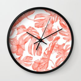 Tropical Hibiscus and Palm Leaves Dark Coral White Wall Clock