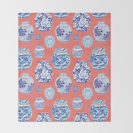 Chinoiserie Ginger Jar Collection No.4 Throw Blanket