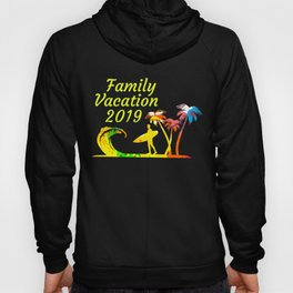 Family Vacation 2019 Surfer with Surfboard on Sandy Beach with Palm Trees Hoody