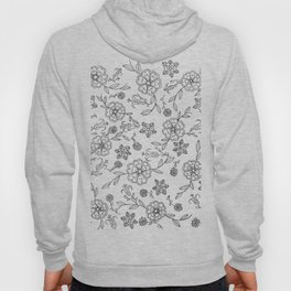 Floral pattern black and white 1 Hoody
