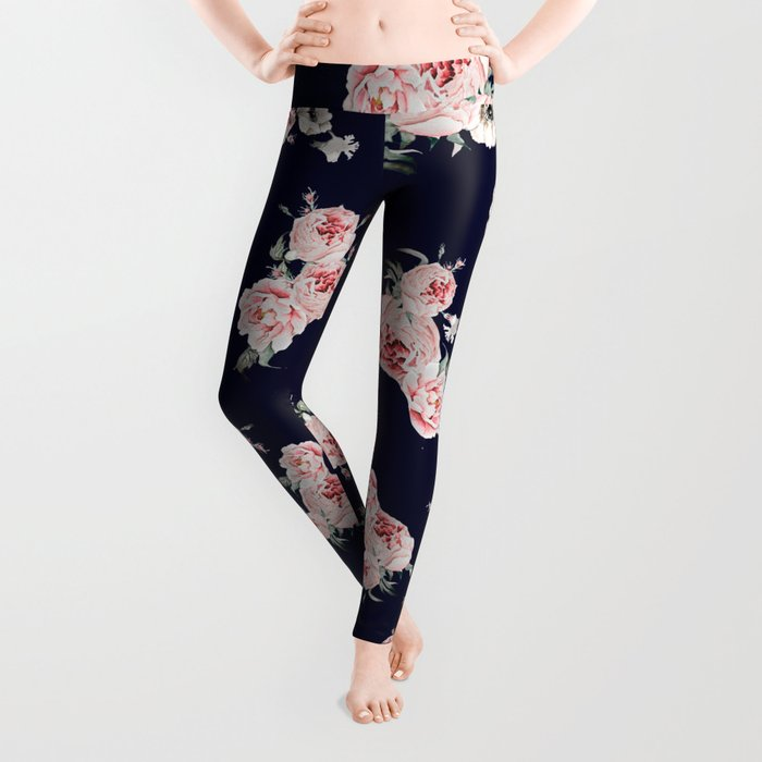 Peonies Falling Navy Leggings