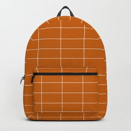 Long Grid Horitzontal Orange Backpack