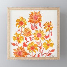 Sunflower Watercolor – Fiery Palette Framed Mini Art Print