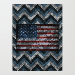 Blue Military Digital Camo Pattern with American Flag Poster