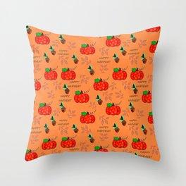 Happy Harvest Acorns and Pumpkins Throw Pillow
