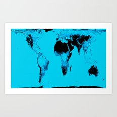 World Map : Gall Peters Blue Art Print