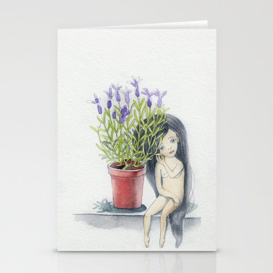 listening to the lavender's breath Stationery Cards