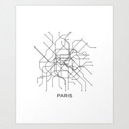 Paris Metro Map Subway Map Paris Metro Graphic Design Black And White Canvas Metropolian Art Art Print