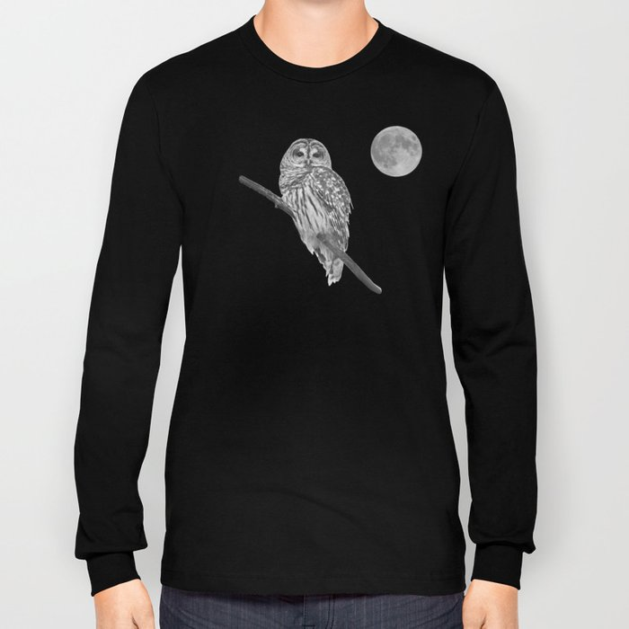 Owl, See the Moon (bw) Long Sleeve T-shirt