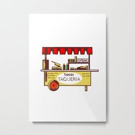 Taco Stand Taqueria Stand Woodcut Metal Print