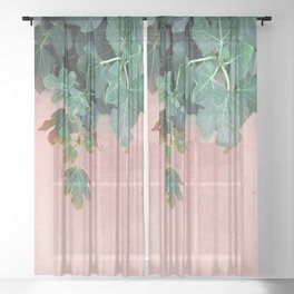 Pink Green Leaves Sheer Curtain