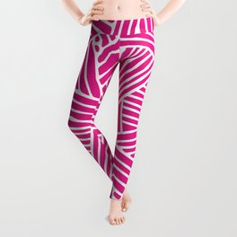 Abstract pink & white Lines and Triangles Pattern - Mix and Match with Simplicity of Life Leggings