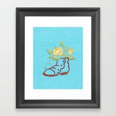 A Rose in a Boot Framed Art Print