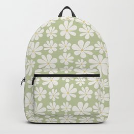 Floral Daisy Pattern - Green Backpack