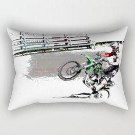 Making a Stand - Freestyle Motocross Rider Rectangular Pillow