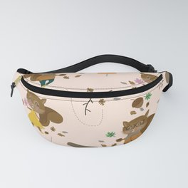 Mr and Mrs Squirrel Apricot Background Fanny Pack