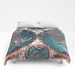 Antique World Map Pink Quartz Teal Blue by Nature Magick Comforters