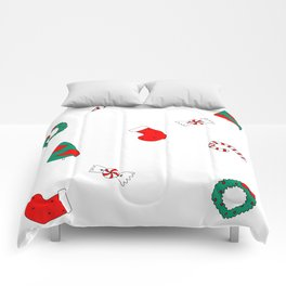 Winter Holiday Themed Illustration Merry Christmas! Comforters
