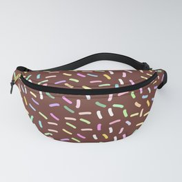 chocolate Glaze with sprinkles. Brown abstract background Fanny Pack