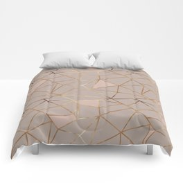 Geometrical mauve pink faux gold blush chic pattern Comforters