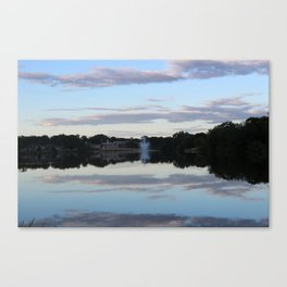 Evening Fountain Photo Canvas Print