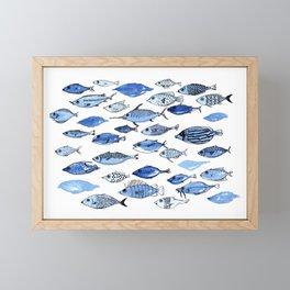 Aquarium blue fishes Framed Mini Art Print