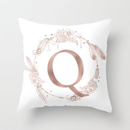 Letter Q Rose Gold Pink Initial Monogram Throw Pillow