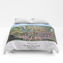 CUMBERLAND MARYLAND city old map Father Day art print poster Comforters
