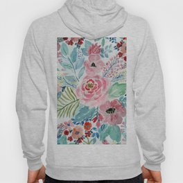 Pretty watercolor hand paint floral artwork. Hoody