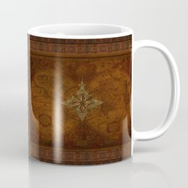 Antique Steampunk Compass Rose & Map Coffee Mug