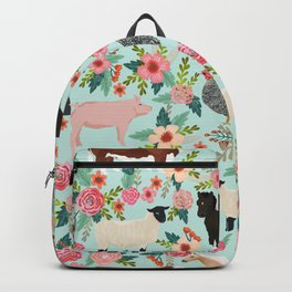 Farm animal sanctuary pig chicken cows horses sheep floral pattern gifts Backpack