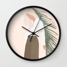 Holding a Palm Leaf Wall Clock