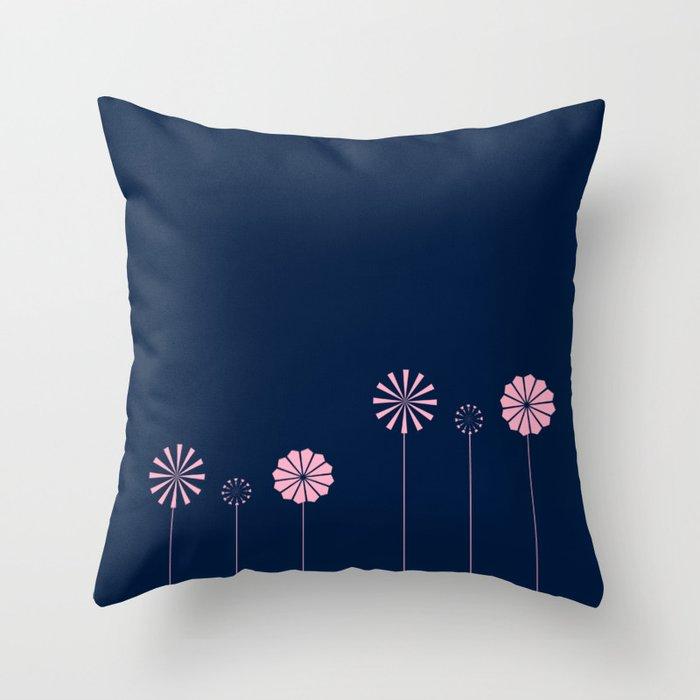 Pink Flowers at Night Pattern Throw Pillow