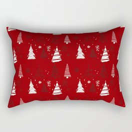 Red and White Hand Drawn Christmas Trees Pattern Rectangular Pillow