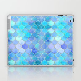 Aqua Pearlescent & Gold Mermaid Scale Pattern Laptop & iPad Skin