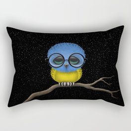 Baby Owl with Glasses and Ukrainian Flag Rectangular Pillow