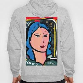 Fauve Girl Portrait with blue hair Hoody