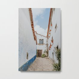 Alley in portuguese town | Obidos Portugal | Travel Photography Art print  Metal Print