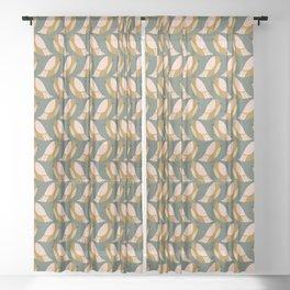 Mod Birds on Green Sheer Curtain