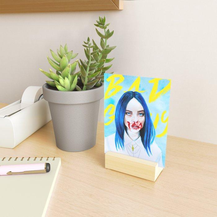 Billie Eilish Bad Guy blue music portrait fan art typography Mini Art Print