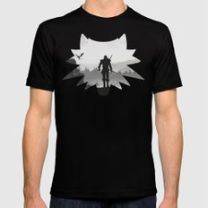 The white wolf Mens Fitted Tee Black MEDIUM