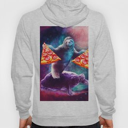 Funny Space Sloth With Pizza Riding On Turtle Hoody