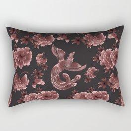 Phoenix Bird with peony flowers Rectangular Pillow