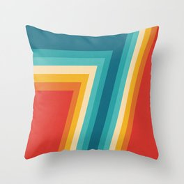Colorful Retro Stripes  - 70s, 80s Abstract Design Throw Pillow