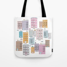 New York Brownstone Architecture - Pastel homes Tote Bag