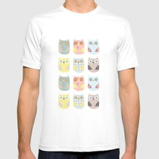 owls pattern Mens Fitted Tee White MEDIUM