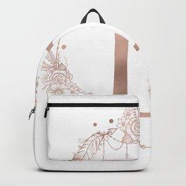 Letter D Rose Gold Pink Initial Monogram Backpack