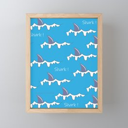Shark fin pattern Framed Mini Art Print