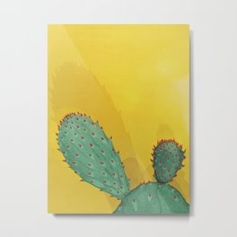 Cactus on yellow Metal Print